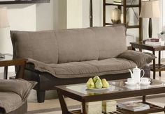 Futon Sofa Bed with Tapered Wood Legs in Two Tone Finish, office