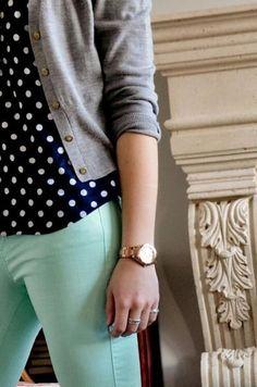 Mint + poka dots + grey cardigan