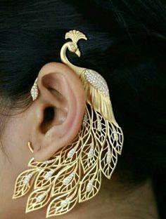 96e59b6226ee3 Ear Cuffs Online, Peacock Jewelry, Peacock Earrings, Ear Jewelry, Gold  Jewelry,