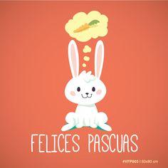 Vinilos para Vidrieras –Conejo con zanahoria – Felices Pascuas. Medida 60×80 cm MOD #VFP003 Personalizá el color a tu gusto!