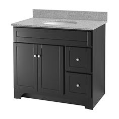 The Worthington espresso bathroom vanity collection is available in sizes 24 inch, 30 inch, 36 inch, and 48 inch. Each vanity is 34 inches tall and features satin nickel exterior hardware