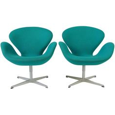 Set of Two Turquoise Swan Chairs by Arne Jacobsen (15 190 SEK) ❤ liked on Polyvore featuring home, furniture, chairs, turquoise furniture, set of two chairs, turquoise chair, set of 2 chairs and swan chair