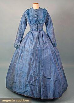 BLUE SILK DAY DRESS, 1860s