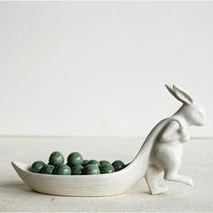 White Stoneware Rabbit Pulling Leaf Dish