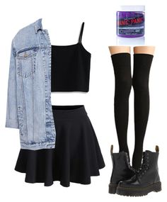 """Untitled #121"" by violenceinsilence ❤ liked on Polyvore featuring Chicwish, Pull&Bear, Manic Panic NYC and Dr. Martens"
