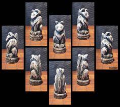 Hand Carved Wooden Regal Cat Totem Figure by elfWorksLane on Etsy, $45.00
