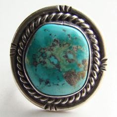 Vintage Southwestern Blue Turquoise Sterling Silver Ring C1960s Size 5.5