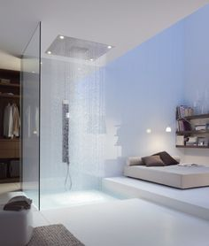 Ceiling mounted built-in overhead #shower with built-in lights AXOR STARCK by @Hansgrohe SE SE  | #design Philippe Starck