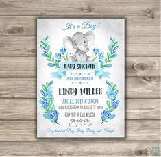 Elephant Baby Shower Invitations Baby Boy