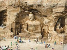 Yúngāng Shíkū (Yungang Grottoes), Datong, Shanxi Province, China - these 252 ancient Chinese Buddhist temple grottoes hold more than 51,000 Buddha statues and statuettes, excellent examples of rock-cut architecture and one of the three most famous ancient Buddhist sculptural sites of China.