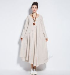 Anysize vogue linen&cotton maxi dress long dress plus by AnySize