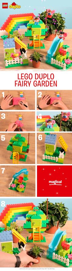 Want to build a fairy garden with your children but don't have access to outside space? Or maybe it's a rainy day? Then why not make one out of LEGO DUPLO bricks!  Use whatever bricks you have to build a rainbow and a treehouse with a little door to make a really magical indoor fairy garden. To turn your LEGO DUPLO figures into fairies, make wings from sticky notes, then decorate with a pen and a little bit of imagination. Fabulous!
