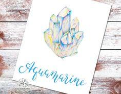 Aquamarine Print Art Throat Chakra stone Healing by AlenaZenArt