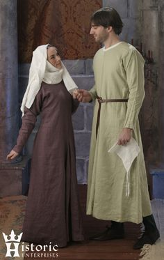 Purchase - Historic Enterprises sells historically accurate costumes for men and women.  Each item in their catalog actually comes with an accuracy rating!  Not the cheapest, but well researched and, from what I've heard, well constructed.  This long tunic/gown (depending on whether it's worn by a man or woman) is $100 in linen, or is available in wool for $110.  If that's too expensive for you, there's also a handy pattern diagram on the catalog page.