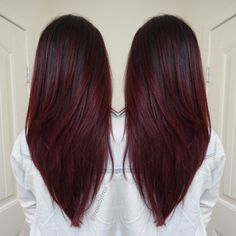 Dark red violet plum balayage