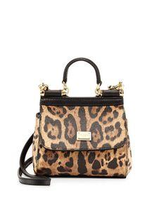 Miss Sicily Mini Leopard-Print Crossbody Bag, Nude/Black by Dolce & Gabbana at Neiman Marcus.