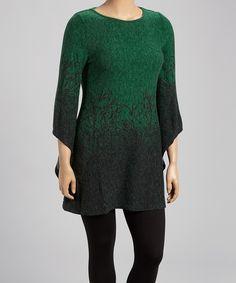Green Ombré Branch Sweater Dress - Plus