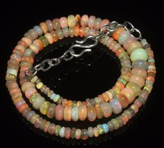 """65 Ctw 1Necklace 2to7 mm16"""" Beads Natural Genuine Ethiopian Welo Fire Opal R3302"""