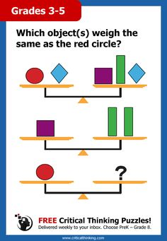 FREE Award-Winning Critical Thinking Puzzles! Sign Up Today! Delivered weekly to your inbox. Choose PreK – Grade 8. Can your child figure out the answer(s)?