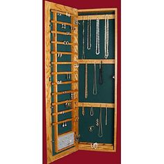 Wll-mounted wooden jewelry armoire