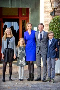 Dutch Prince Maurits and Princess Marilene with their children Anna(L), Lucas (R) and Felicia attend the christening of Prince Floris' son at Palace het Loo in Apeldoorn, The Netherlands, 09.11.2014