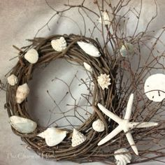 DIY Grapevine Wreaths with Seashells -Easy to Make! Here are 8 beautiful DIY grapevine wreaths with seashells! These wreaths are so easy to make because the base already looks great; rustic and naturey. Seashell Crafts, Beach Crafts, Diy And Crafts, Seashell Wreath, Diy Wreath, Grapevine Wreath, Wreath Making, Wreath Ideas, Nature Crafts