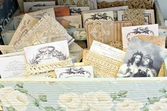 Beautiful lace cards made with oodles of graphics from Karen at the Graphics Fairy.   Storage should be functional, no doubt, but it simply must be pretty if you ask me.