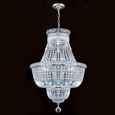 "French Empire Collection 12 Light Chrome Finish and Clear Crystal Chandelier 18"" x 27"""