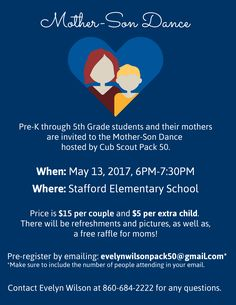 Calling all moms! Here's another great event happening this Cub Scout Pack 50 is hosting a Mother-Son Dance May 2017 from to at the Stafford Elementary School. Mommy And Son, Mom Son, Dance Themes, Father Daughter Dance, School Events, School Dances, Cub Scouts, Therapy Ideas, Upcoming Events