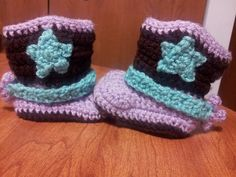 Cowboy and Cowgirl Baby Booties by CozyCreationsbyJenna on Etsy, $22.00