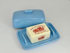 Butter Dish Sky Blue Glaze Vintage Crockery, New Apple Watch, Dish Sets, Milk Jug, Butter Dish, Earthenware, Sugar Bowl, Safe Food, High Gloss