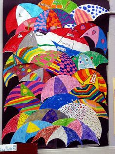 Umbrellas by Renoir created by 10 year olds - Classroom Displays Renoir, Auction Projects, Art Projects, Weather Art, Creation Art, Umbrella Art, Ecole Art, Art Classroom, Classroom Displays