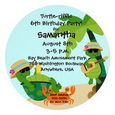 #Round #Turtle #Birthday #Party #Invitation #Customize