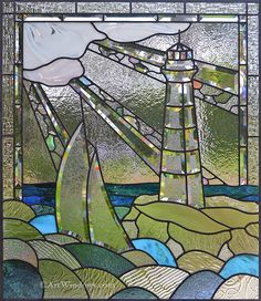 Art Windows Custom Stained and Beveled Glass  This new Lighthouse Window is ready to install for Monday morning. What do you think of this one?