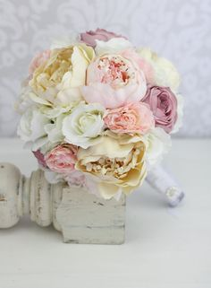 Silk Bride Bouquet Peony Peonies Vintage Inspired by braggingbags, $99.00
