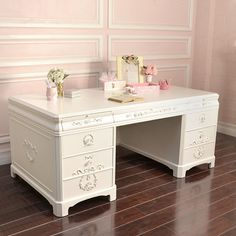 White Shabby Chic Executive office Desk by PerfectlyGoodStuff