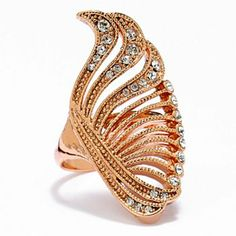 Rose Gold Tone Simulated Crystal Swirl Ring #CocktailRing #Kohls