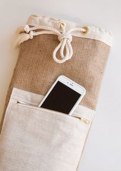 Jute Yoga Mat Bag Burlap and Linen Minimalist by theAtlanticOcean