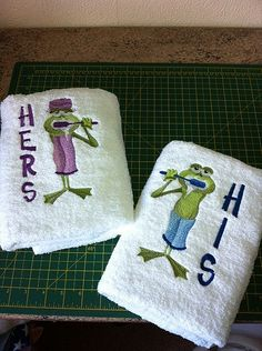 His and Hers hand towels m.achine embroidered 'in the hoop'