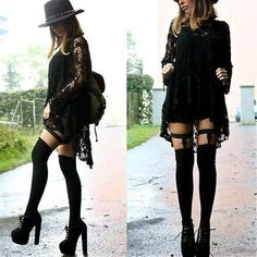 Zara Hat, Pure Black Suspenders, American Apparel Overknees, Jumex Shoes, Zara S. Dark Fashion, Grunge Fashion, Gothic Fashion, Grunge Outfits, Latex Fashion, Emo Fashion, Cute Goth Outfits, Steampunk Fashion, Trendy Outfits