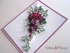 Quilled Handmade Greeting Card with 3D Paper Flowers for Birthdays, Anniversaries, etc.