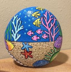 Fish bowl painted rock by cat - bowl .-Fischschüssel Painted Rock von Cat – Fish bowl Painted Rock by Cat – bowl - Pebble Painting, Ceramic Painting, Pebble Art, Stone Painting, Ceramic Art, Painting Art, Rock Painting Patterns, Rock Painting Ideas Easy, Rock Painting Designs