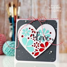 Simon Says Stamp Hey Love release. Heart of Flowers Die. Valentine card by Wanda Guess