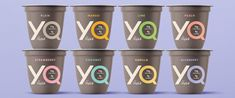 For this brand launch of YQ by Yoplait from General Mills, we created a brand strategy, identity and packaging design to go against category norms. Yogurt Brands, Cosmetic Companies, Creating A Brand, Unisex Fashion, Clothing Company, Covergirl, Gender Neutral, Packaging Design, Blueberry