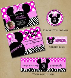 Minnie Mouse Birthday Party | Minnie Mouse Zebra Hot Pink Personalized Birthday Party Printable ...