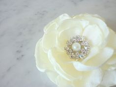 "Ivory Bridal Hair Flower ""VICTORIA "" - Ivory Fabric Flower Wedding Hair Clip - Rhinestones, Pearl on Etsy, $20.00"
