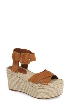 Breezy braided jute wraps the platform sole of a bold wedge sandal topped with supple leather straps. Style Name:Marc Fisher Ltd 'Randall' Platform Wedge (Wom… Platform Wedge Sandals, Suede Sandals, Suede Shoes, Shoes Sandals, Summer Wedges, Me Too Shoes, Nike Men, Espadrilles, Fisher