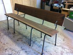 Bench Walnut with vintage frame. Designed by Tieme Rietveld