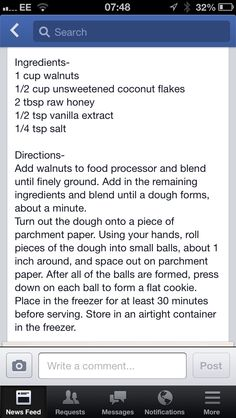 Walnut cookies Walnut Cookies, Raw Honey, Healthy Treats, Coconut Flakes, Food Processor Recipes