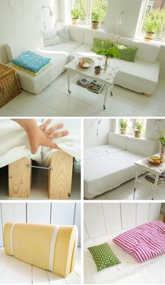 Great idea for living room! Alternative to couches-two twin beds that can swivel. DIY tutorial includes super easy design for headboard/back of designs home design interior design design ideas L Shaped Couch, L Shaped Twin Beds, Diy Bett, Two Twin Beds, Diy Casa, Home Interior Design, Interior Decorating, Interior Ideas, Modern Interior